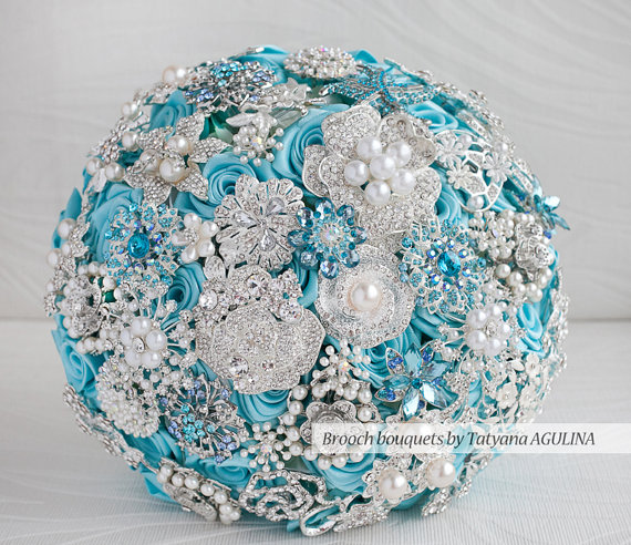 Turquoise And Silver Brooch Rhinestone Wedding Bouquet Made By MagnoliaHandmade On Etsy