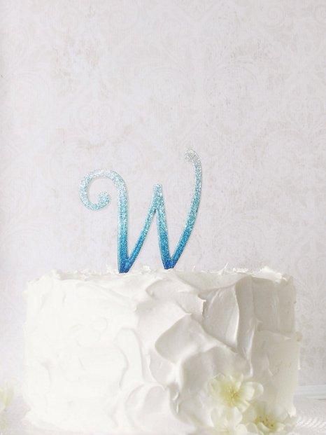 Glitter Bling Monogram Cake Topper in Blue – made by StudioBloomIowa on Etsy