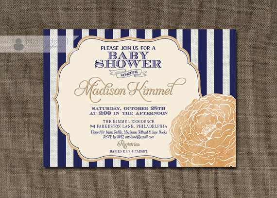 Navy and Peach Bloom Baby Shower Invitation – made by digibuddaPaperie on Etsy