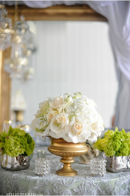 Light Green, White + Gold Tablescape – shared on Style Unveiled