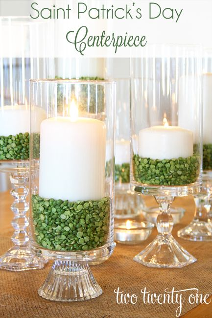 Hurricane Candles and Beans Centerpiece