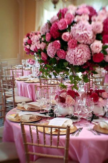 Shades of Pink Tablescape – shared on Colin Cowie Weddings
