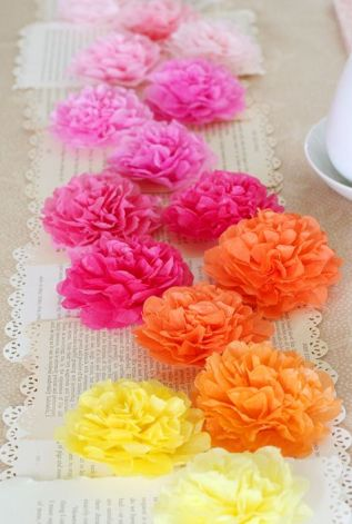 Tissue Paper Pom Pom Table Décor – shared on Lisa Storms