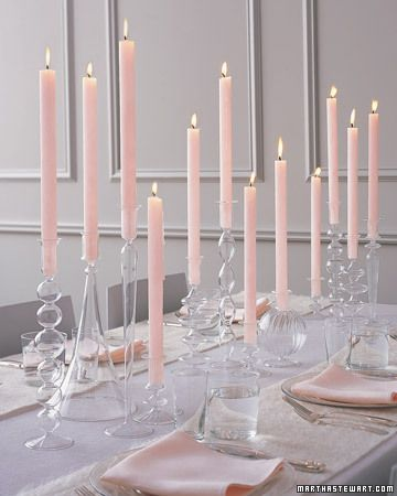 Glass Candlesticks and Tall Candles Centerpiece