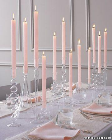 Glass Candlesticks and Tall Candles Centerpiece