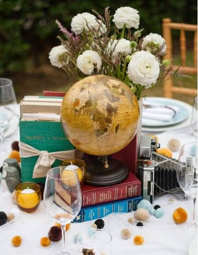 Books, Globes and Candles Centerpiece