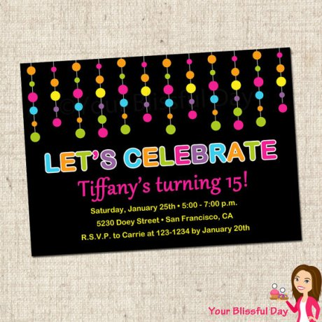 Glow in the Dark Birthday Party Invitation with Dots – made by yourblissfulday on Etsy