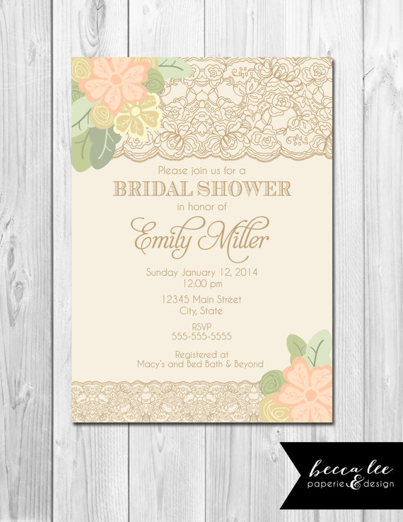 Floral Lace Bridal Shower Invitation – made by BeccaLeePaperie on Etsy