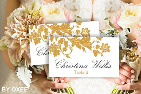 Printable Escort Card with Gold Floral Pattern – made by Oxee on Etsy