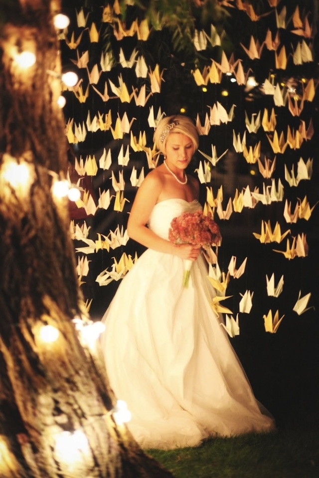 1000 Cranes under the Willow Tree (at night) – shared on Bridal Musings