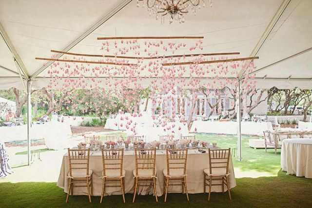 Pink Crane Tablescape – shared on Glamour & Grace