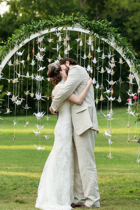 Paper Crane Wedding Alter / Ceremony Décor – shared on Intimate Weddings