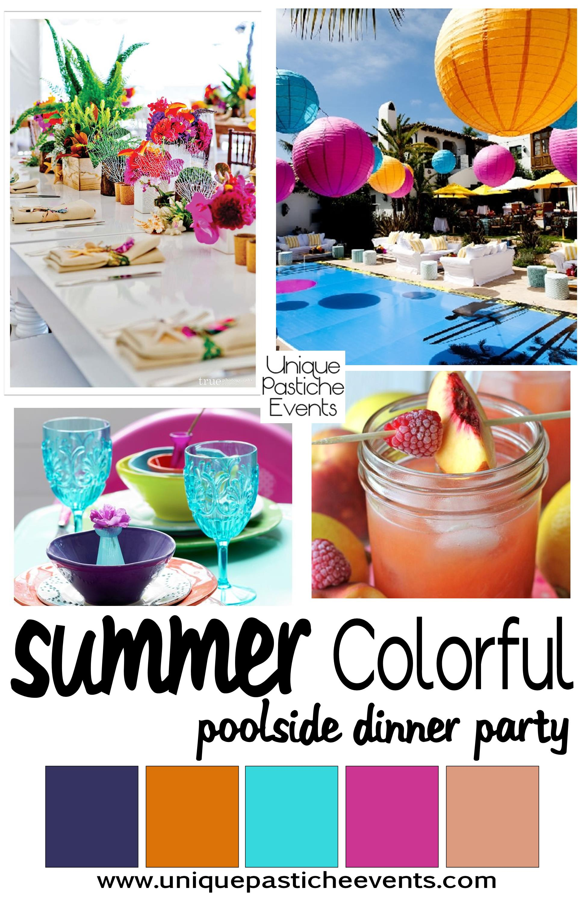 Charming Summer Dinner Party Ideas Part - 9: Colorful Poolside Summer Dinner Party Ideas Unique Pastiche Events