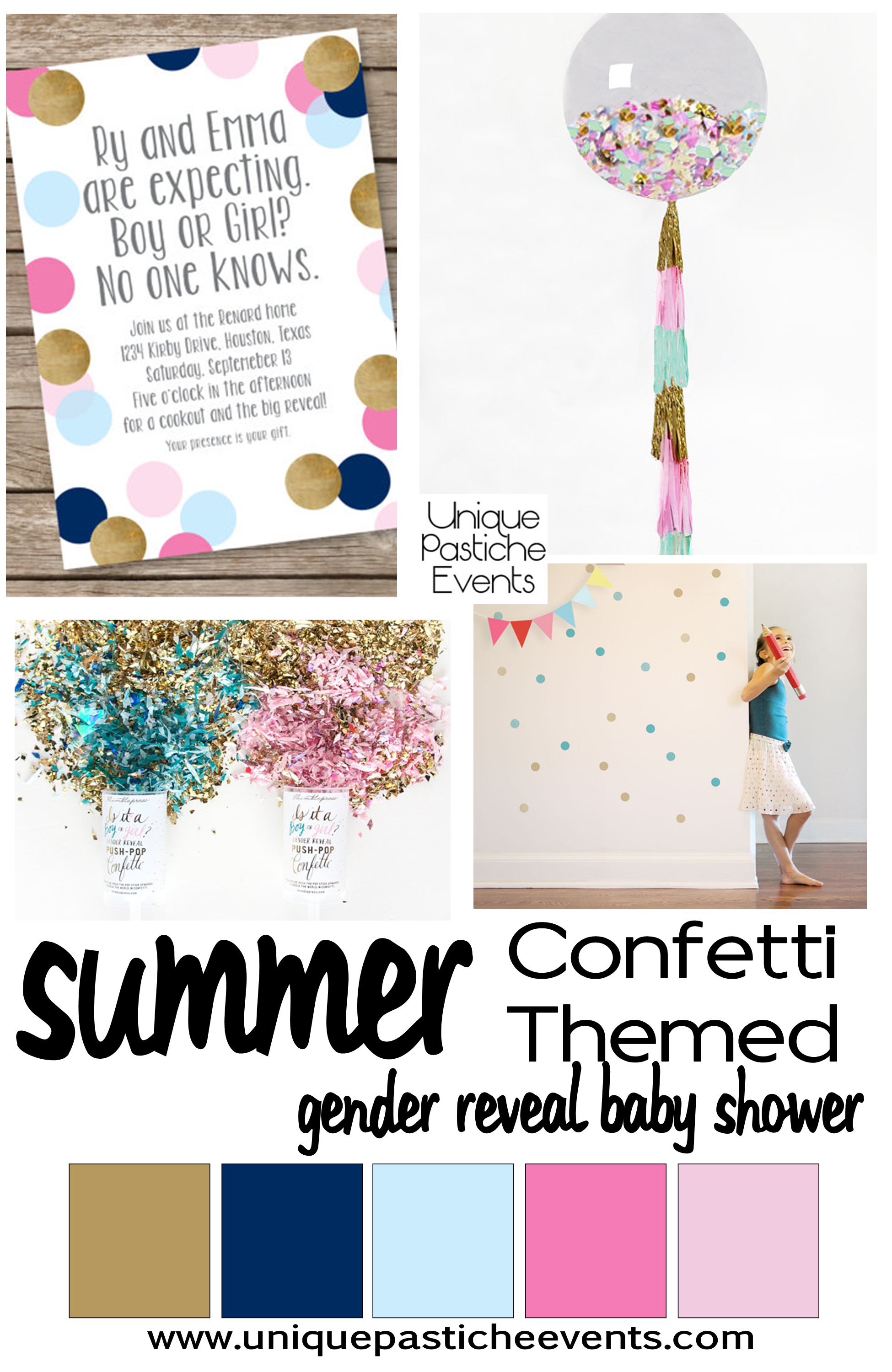 confetti themed gender reveal baby shower - Gender Reveal Baby Shower