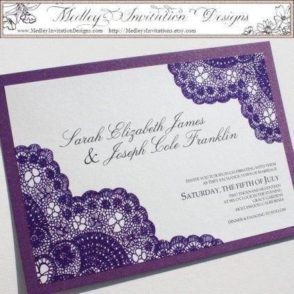 Dark Purple Vintage Antique Lace Invitations – made by MedleysInvitation on Etsy