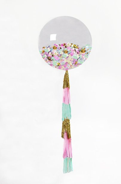 Giant Balloon with Tassel and Confetti – made by PomJoyFun on Etsy