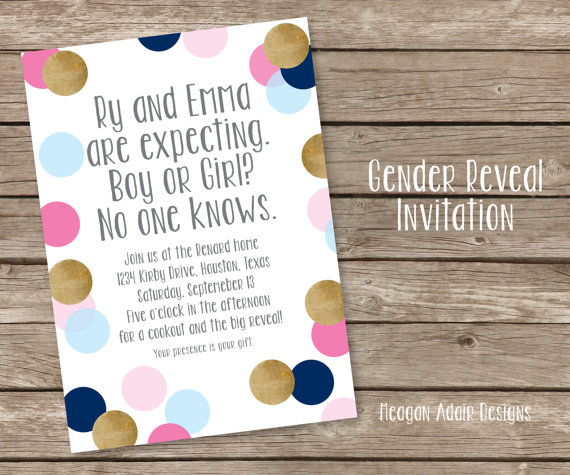 Confetti Gender Reveal Party Invitation – made by meaganadair on Etsy
