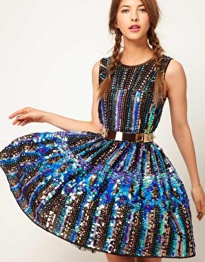 ASOS Skater Dress in Holographic Sequins – spotted on ASOS