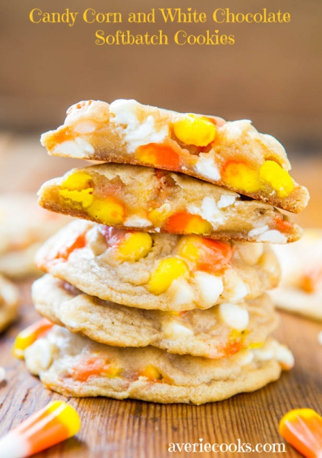 Candy Corn and White Chocolate Softbatch Cookies – shared by Averie Cooks