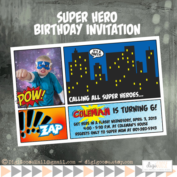 Superhero Photo Invitation Printable – made and sold by DigiGoose on Etsy