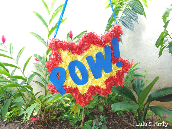 Superhero POW! Comic Book Piñata – made and sold by LaLasParty on Etsy