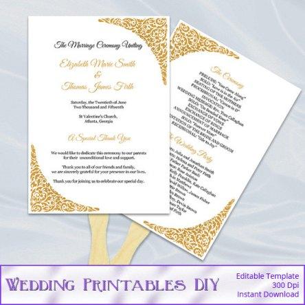 Printable Gold Wedding Program Fan Template – sold by WeddingPrintablesDiy on Etsy