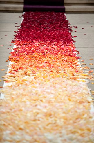 Dark Red to Cream White Ombre Petal Wedding Aisle Runner – spotted on Pinterest