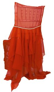 Emma Chiffon Red Dress Chivari Chair Cover – available on Wildflower Linen
