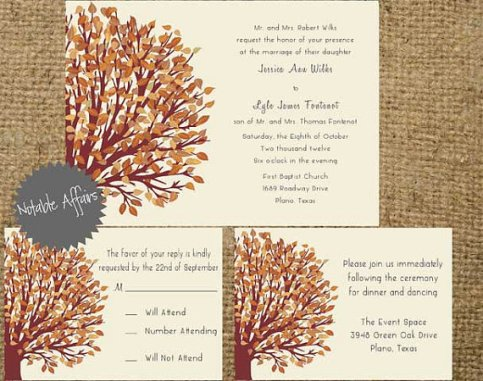 Printable Fall Autumn Tree Wedding Invitation Set – sold by NotableAffairs on Etsy