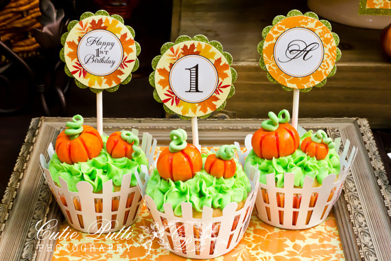 Pumpkin Patch Party Customized Cupcake Toppers – made by CutiePuttiPaperie on Etsy