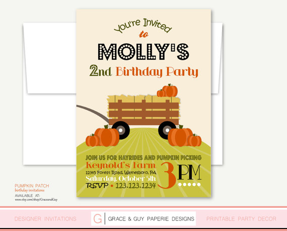 Pumpkin Patch Printable Birthday Party Invitation – made by GraceandGuy on Etsy