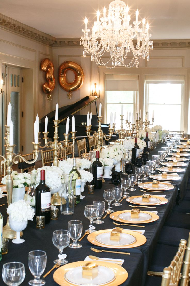 New Years Eve Dinner Party Ideas Part - 49: Black, Gold And White Tablescape U2013 Spotted On Style Me Pretty