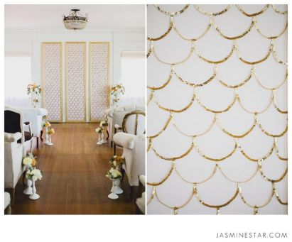 Sequined Gold Scallop Background – shared on Jasmine Star Blog