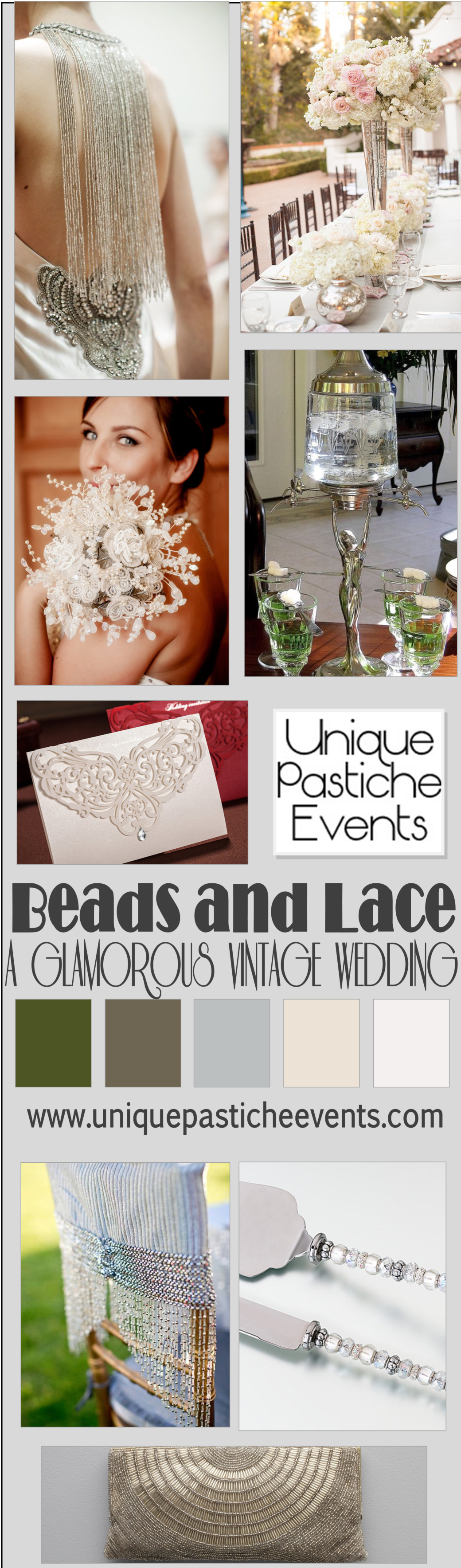 Beads and Lace – A Glamorous Vintage Wedding Inspiration Board by Unique Pastiche Events Get the full details: https://uniquepasticheevents.com/2014/11/19/beads-and-lace-a-glamourous-vintage-wedding-inspiration-board/