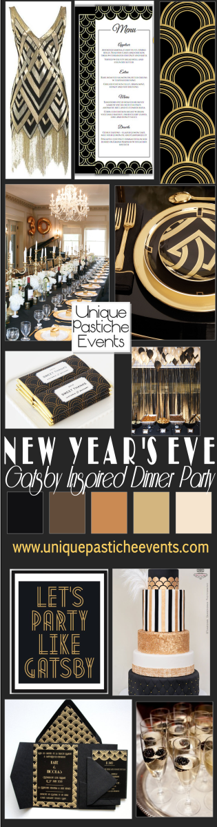 Gatsby Inspired New Year's Eve Dinner Party Ideas Get all the details here: https://uniquepasticheevents.com/2014/12/03/gatsby-inspired-new-years-eve-dinner-party-ideas/