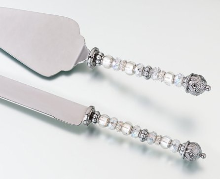 Beaded Cake Server and Knife Set –made by WEDUP on Etsy