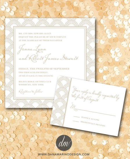 Printable Deco Wedding Invitation and RSVP – made by DanaMarinoDesign on Etsy