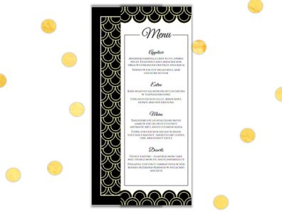 DIY Printable Art Deco Menu – made by ChameleonWeddings on Etsy