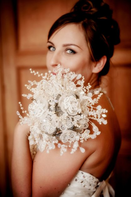 Silver Beaded Wedding Bouquet – made by hairbowswonderworld on Etsy