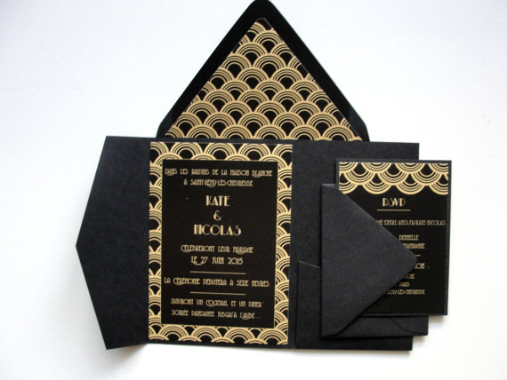 Deco Scallop Invitation and RSVP Cards in Black and Gold – made by punchpaper on Etsy