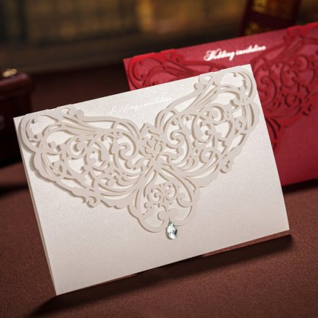Fancy White Laser Cut Wedding Invitation – made by WishmadeCards on Etsy