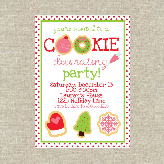 digital christmas cookie decorating party invitation made by 5foot12studio on etsy - Christmas Cookie Decorating Party