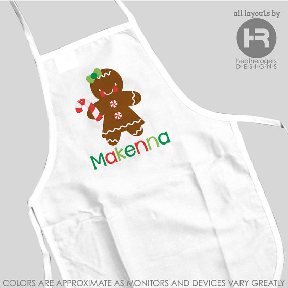 Custom Gingerbread Monogramed Apron – made by HeatherRogersDesigns on Etsy