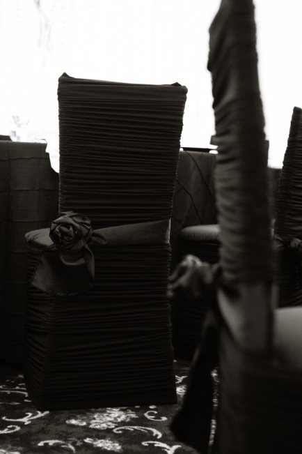 Dramatic Black Satin Chair Covers - shared on DecorFox