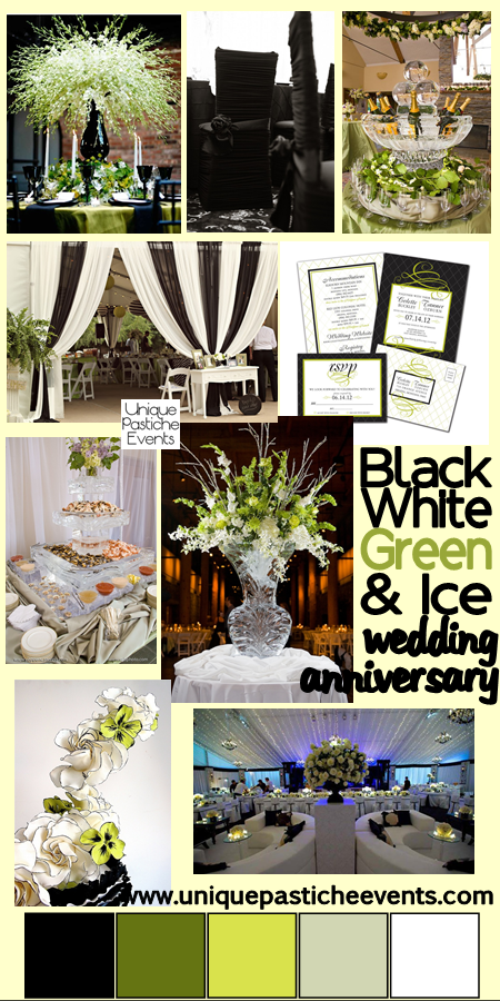 Black, White, Green and ICE! - Wedding Anniversary Idea Read all the details about this versatile design here: https://uniquepasticheevents.com/2014/12/17/black-white-green-and-ice-wedding-anniversary-ideas/