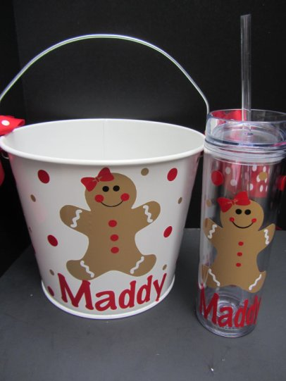 Personalized Christmas Gift Bucket and Tumbler Set – made by DottedDesigns on Etsy