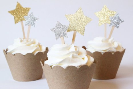 Gold Glitter Star Cupcake Toppers – made by WhenItRainsShop on Etsy