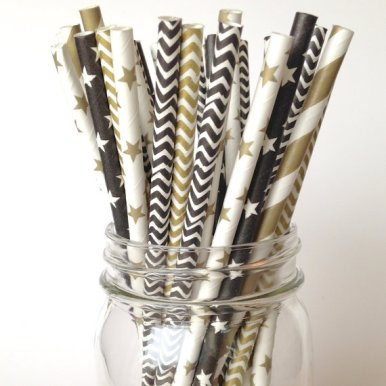 Stars and Stripes Party Straws in Gold, Black and White – made by Twigsandtwirlsllc on Etsy
