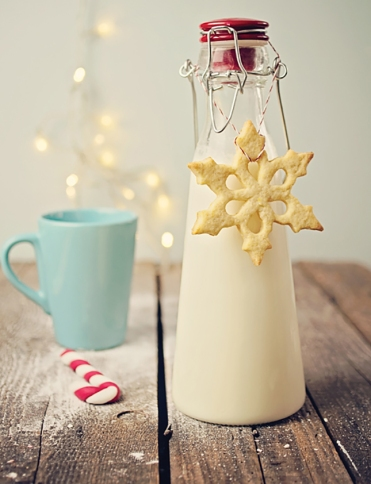Snowflake Sugar Cookies and Milk – shared in a roundup post on Brit+Co