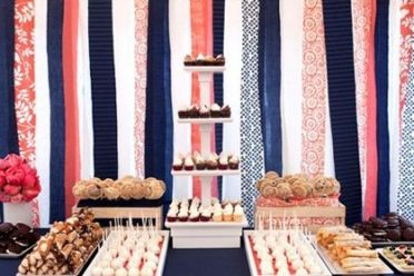 Coral and Navy Party Food Station – spotted on Pinterest